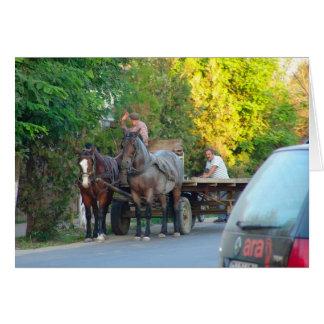 Rumänien transport, forntida och modernt hälsningskort
