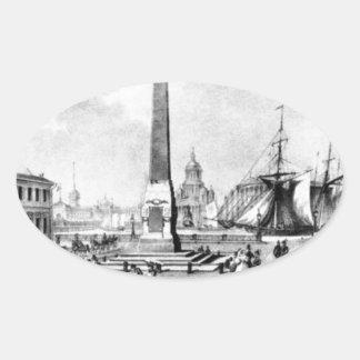 Rumyantsev monument i St Petersburg vid Vasily… Ovalt Klistermärke