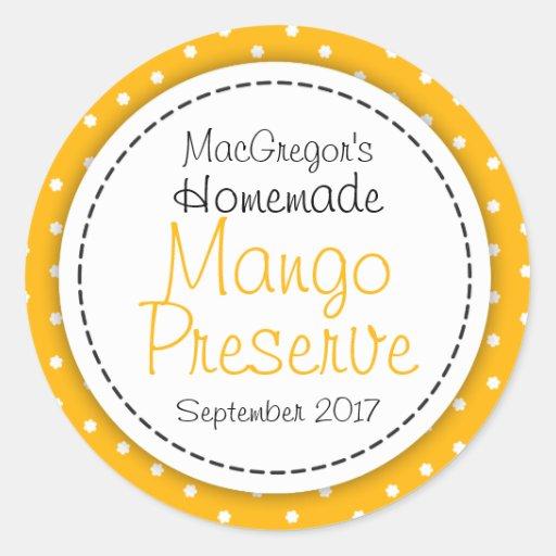 Runda etiketten för mat för mangosylt- eller rund klistermärke