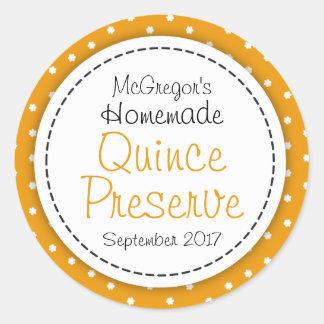 Runda etiketten för mat för Quincesylt- eller Runda Klistermärken