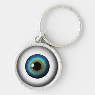 Runda Keychain för kusligt öga för Rund Silverfärgad Nyckelring