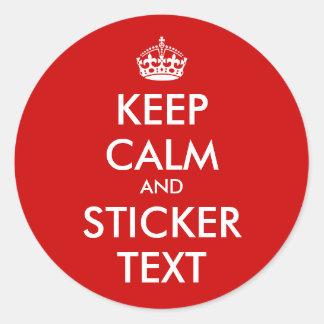 RundaKeepCalm klistermärkear | Personalizable Runt Klistermärke