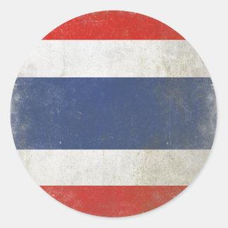 Rundaklistermärke med den bekymrade Thailand Runt Klistermärke