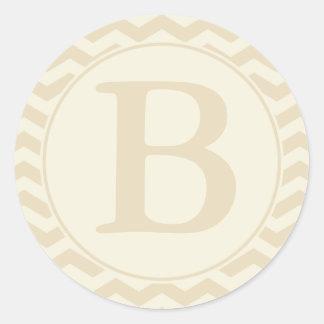Rundakuvertet förseglar med monogramen - kräm & runt klistermärke