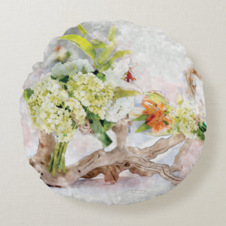 Rundan för den vanlig hortensiaBella vattenfärgen Rund Kudde