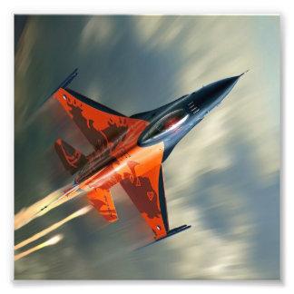 Rusar det militära flygplan för kämpejeten fototryck