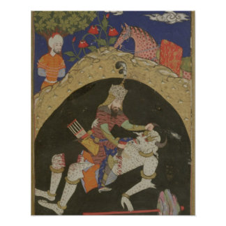 Rustam dräpar viten Div av Mazandaran, illustra Poster