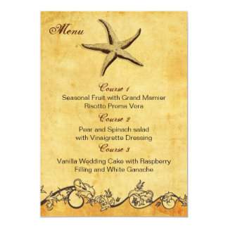 rustic starfish beach wedding menu cards custom announcements