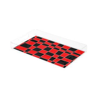 Rutig röd och svart anpassade bricka