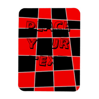 Rutig röd och svart anpassade magnet