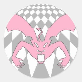 Rutig rosa djävulen runt klistermärke