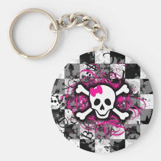 Rutig skalle med shock rosasplatteren rund nyckelring