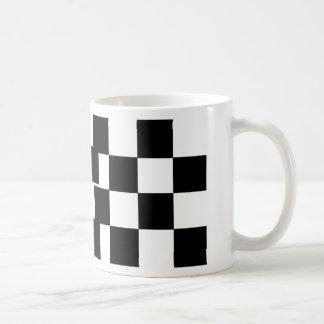 Rutig svart & vit kaffemugg