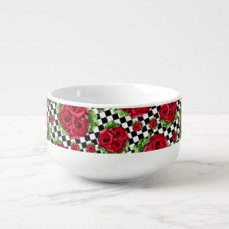 Rutigt för blom- kärlek för röd rosbukett mugg för soppa