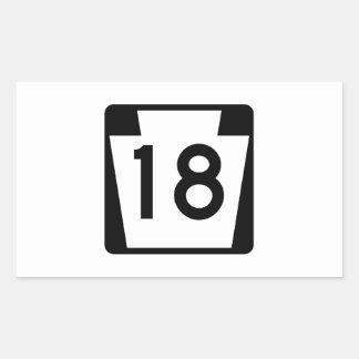 Rutt 18, Pennsylvania, USA Rektangulärt Klistermärke