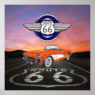 Rutt 66 - Vintage - klassikerbil - SRF Poster