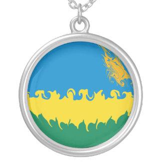 Rwanda Gnarly flagga Halsband Med Rund Hängsmycke