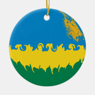 Rwanda Gnarly flagga Rund Julgransprydnad I Keramik