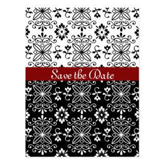 Ryschig svart, vit och röd spara dateravykortet vykort