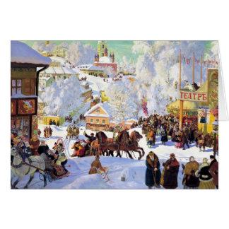 Rysk by i vintern hälsningskort