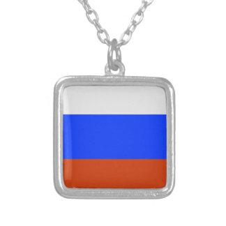 Rysk flagga silverpläterat halsband