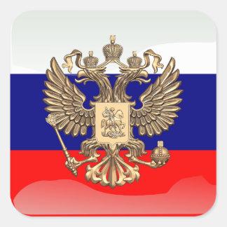 Rysk glansig flagga fyrkantigt klistermärke