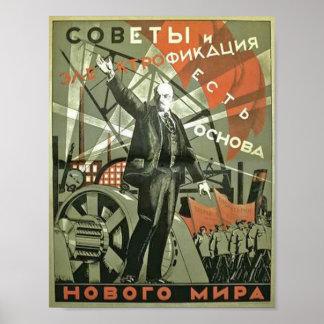 Rysk vintagepropagandaaffisch poster