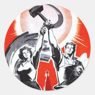 Rysk vintagepropagandaaffisch runt klistermärke