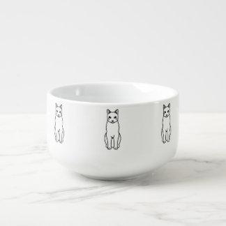 Rysk vitkatttecknad kopp för soppa