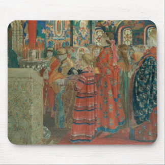 Ryska kvinnor för sjuttonde århundrade på kyrkan musmatta