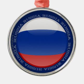 Ryssland bubblar flagga rund silverfärgad julgransprydnad
