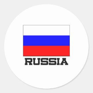 Ryssland flagga runt klistermärke