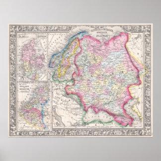 Ryssland i Europa sverige och norge - Karta av D Affisch