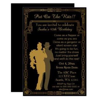 Ryta flicka och gangster för 20-talart décoklaff 12,7 x 17,8 cm inbjudningskort