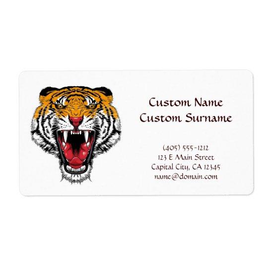 Ryta vild tiger för kallt tecknadtatueringsymbol fraktsedel
