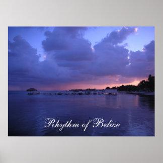 Rytm av den Belize solnedgången på skeppsdockatryc Poster