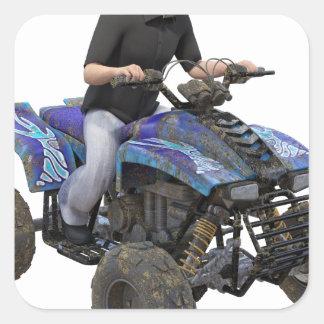 Ryttare för ATV-blåttlera Fyrkantigt Klistermärke
