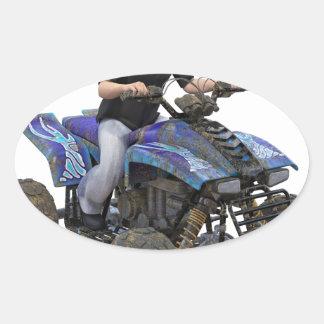 Ryttare för ATV-blåttlera Ovalt Klistermärke