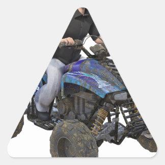 Ryttare för ATV-blåttlera Triangelformat Klistermärke