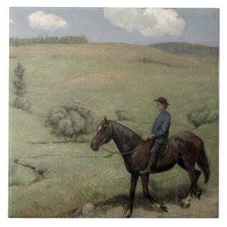 Ryttare i en landskap, 1894 (olja ombord) kakelplatta