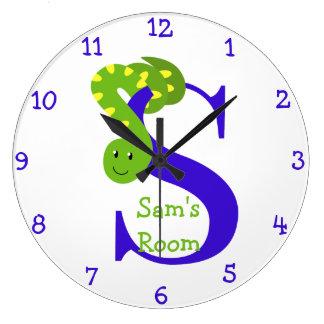 S är för orm- och Sam-Barns sovrum Stor Klocka