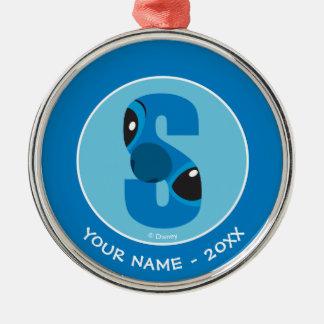 S är för Stitch   tillfogar ditt namn Julgransprydnad Metall