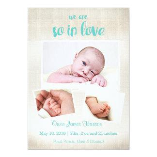 Så förälskat pojkefödelsemeddelande 12,7 x 17,8 cm inbjudningskort