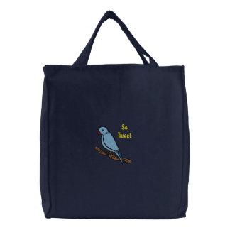Så Tweet så söt blåttfågel på broderad gren Broderade Kassar