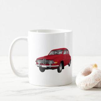 Saab 96 som är röd, kaffemugg