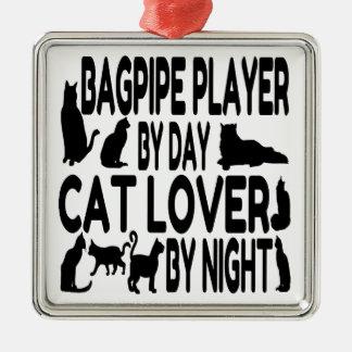 Säckpipe- spelare för kattälskare julgransprydnad metall