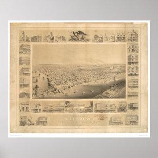 Sacramento panorama- karta 1857 (0066A) för CA. Poster