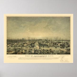 Sacramento panorama- karta för CA - 1850 Poster