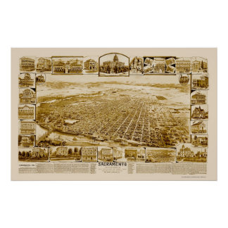 Sacramento panorama- karta för CA - 1890's Poster