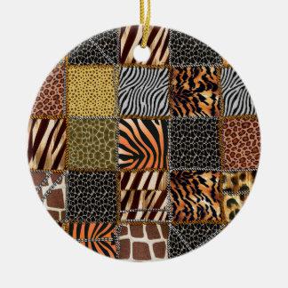 Safaripatchworken cirklar prydnaden rund julgransprydnad i keramik